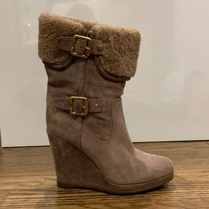 CHRISTIAN DIOR SHEARLING WEDGE BOOTS